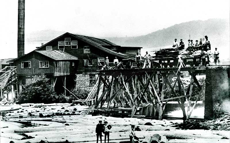 Historical photo of local Lumber Mill and sorting yard